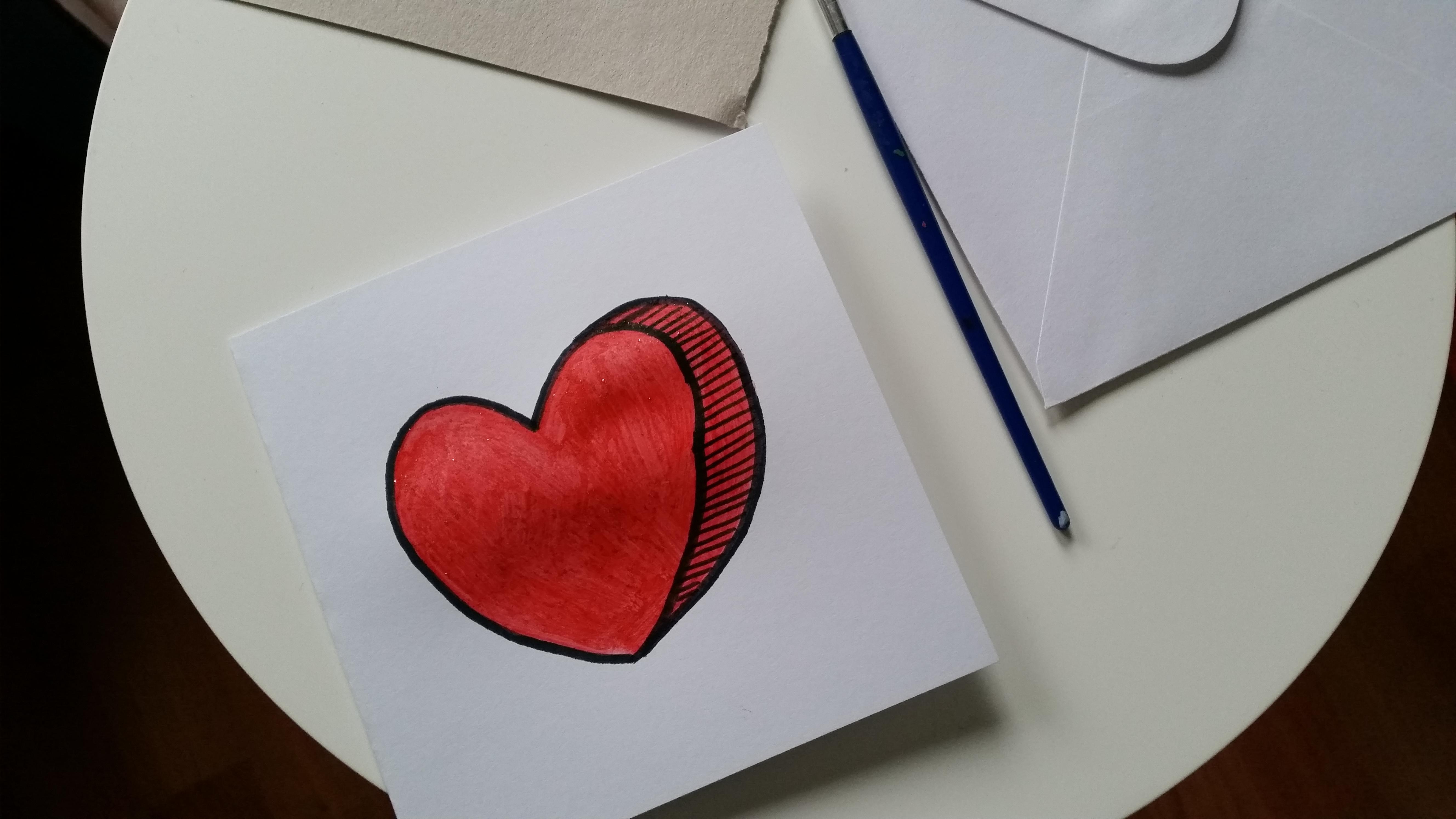 Diy valentijnskaart epeheel for Tekenen in 3d